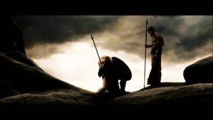 Ephialtes and Leonidas meet before the battle